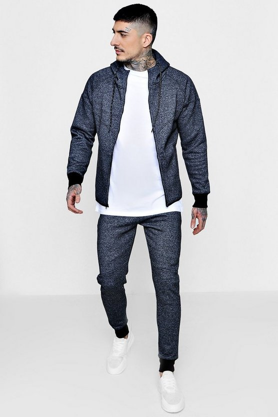 Skinny Fit Melange Zip Hooded Tracksuit