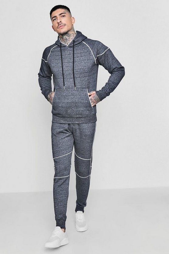 Skinny Fit Melange Tracksuit With Piping