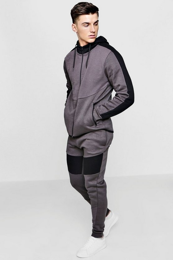 Skinny Fit Ribbed Colour Block Tracksuit