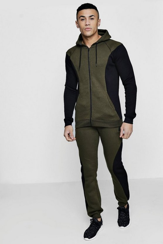 Colour Block Zip Hooded Tracksuit