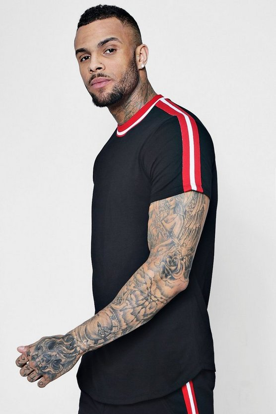 Sports Rib Panel T-Shirt With Curve Hem Co-ord