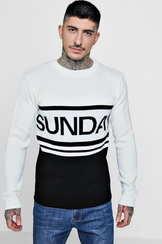 Colour Block Slogan Knitted Jumper