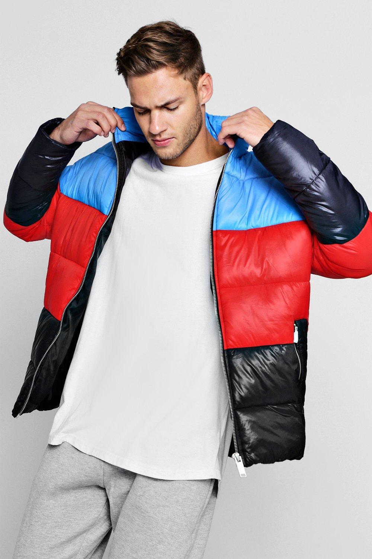Купить Outerwear, Funnel Neck Colour Block Puffer, boohoo