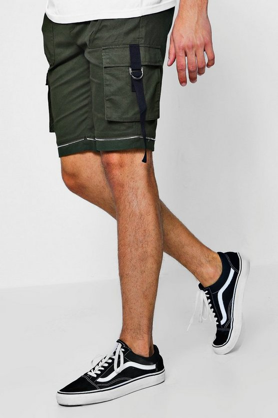 Zip Detail Woven Shorts With Tape Pocket