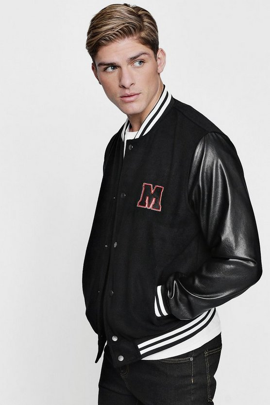 M Badge Faux Leather Sleeve Varsity Jacket