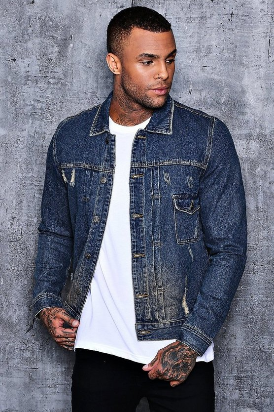 Biesen Jacke aus Denim in Used-Optik
