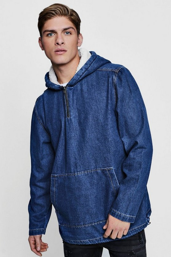 Borg Lined Hooded Denim Jacket