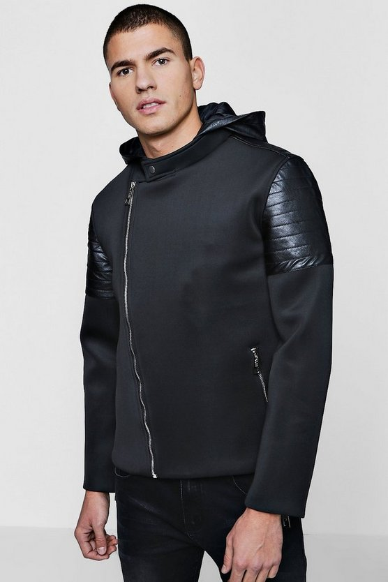 Biker Panel Scuba Hooded Jacket