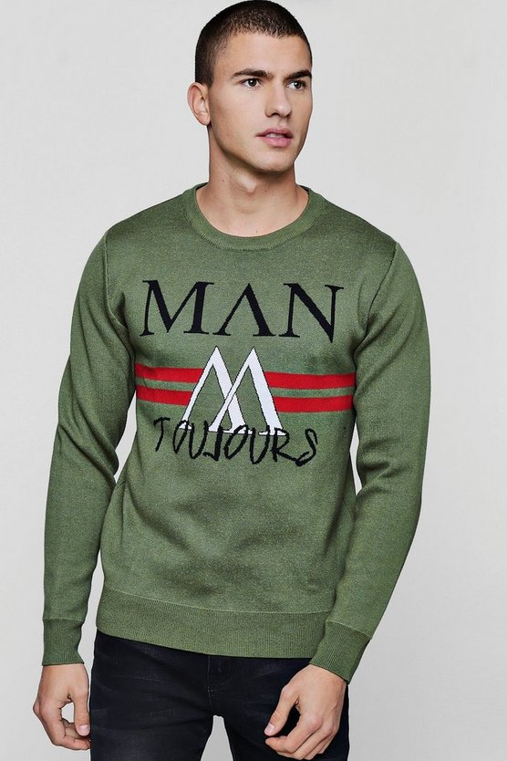 MAN Slogan Intarsia Knit Jumper