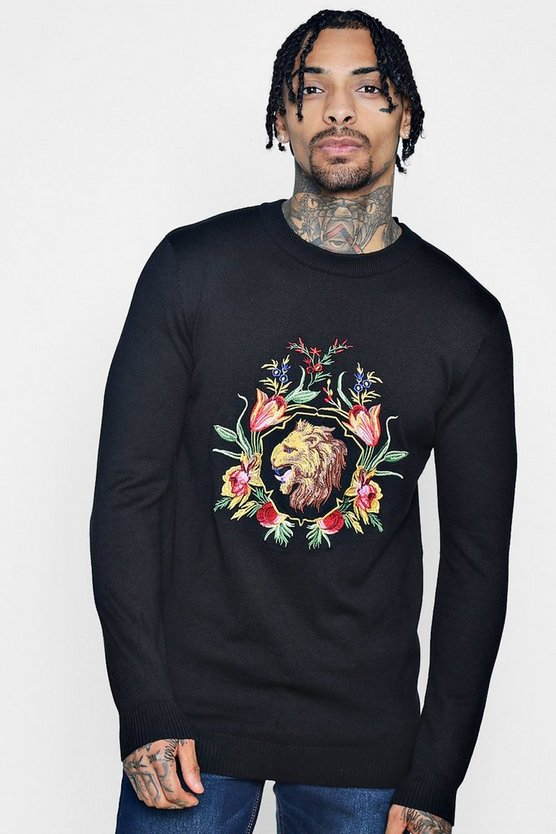 Lion Floral Embroidered Knitted Jumper