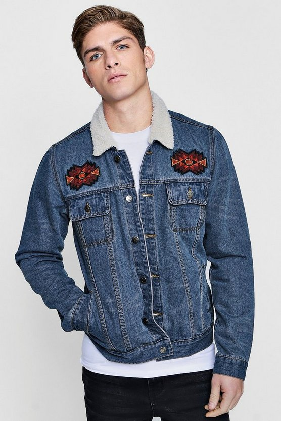 Borg Collar Embroidered Denim Jacket