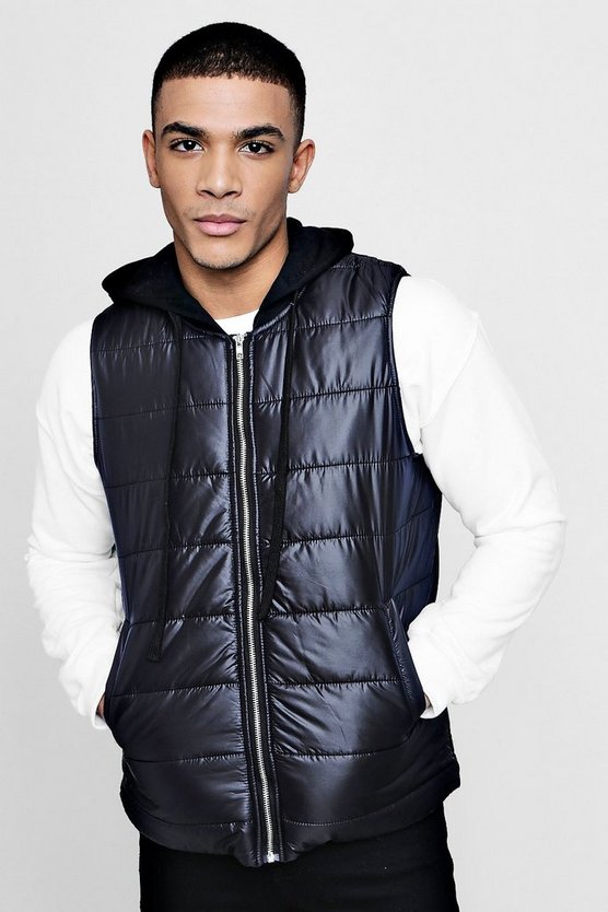 Quilted Gilet With Jersey Hood