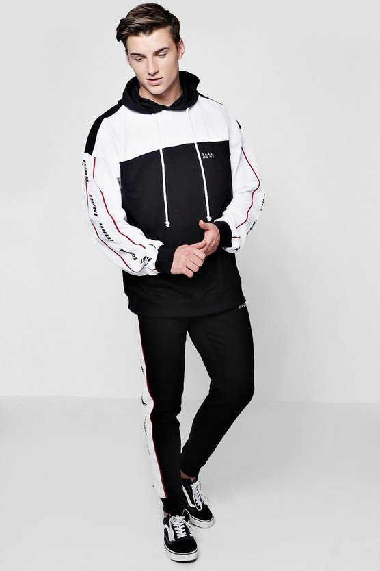 Man Oversized Pipe Tracksuit by Boohoo