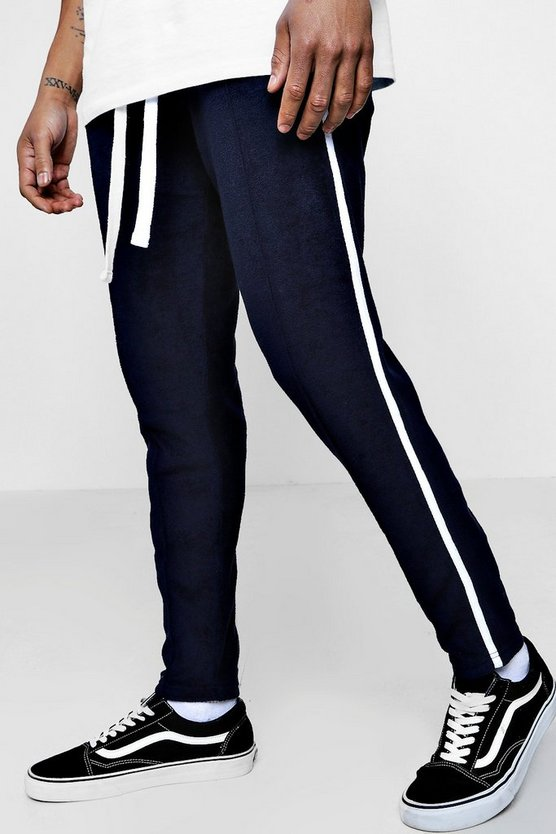 Slim Fit Pintuck Joggers In Towelling