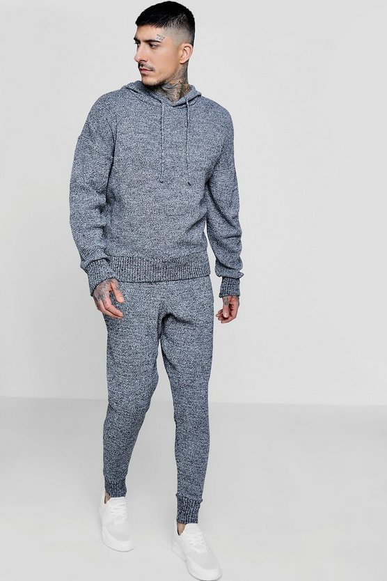Grey Marl Knitted Hooded Tracksuit