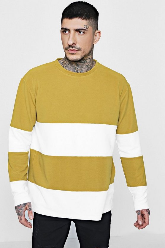 Loose Fit Ribbed Colour Block Sweatshirt