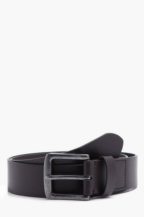 Brown Textured Belt With Gunmetal Buckle