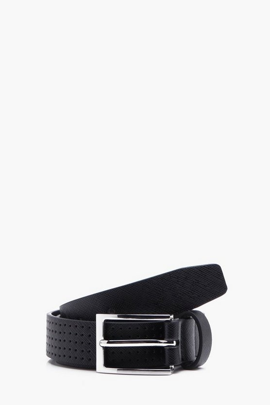 Black Perforated Belt With Classic Silver Buckle