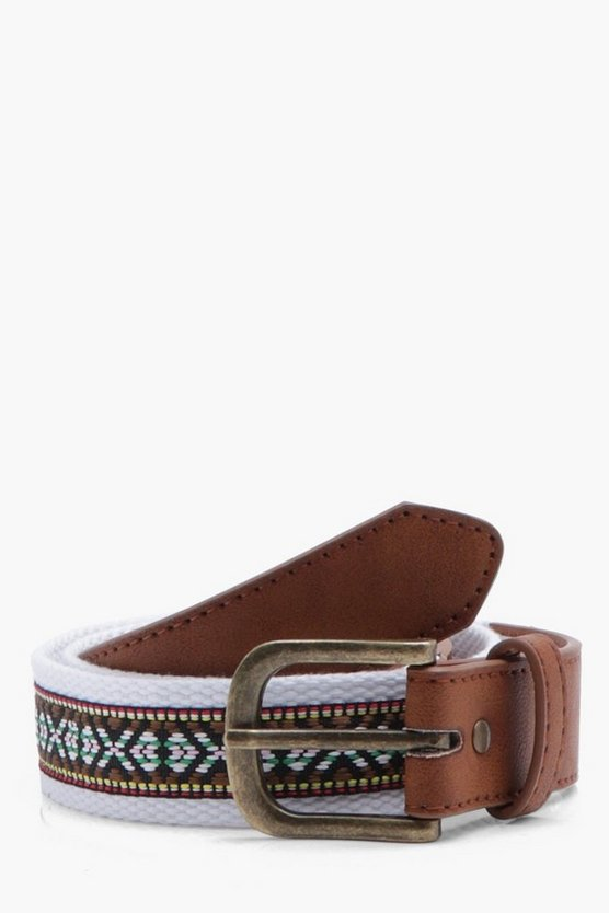 Aztec Woven Belt With Tan PU Detail