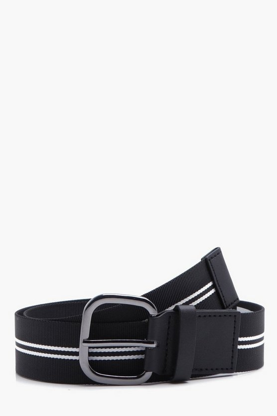 Black Stretch Belt With White Stripe Detail