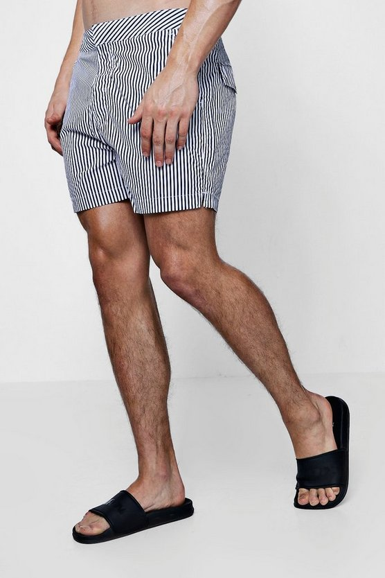 Navy Slim Stripe Swim Shorts
