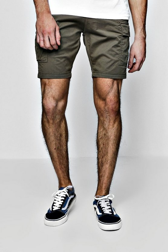 Slim Fit Cargo Shorts With Stretch