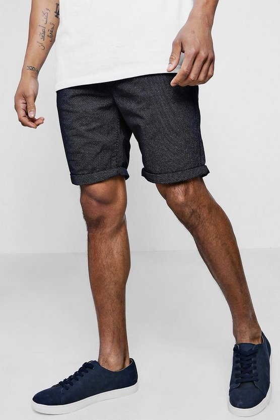 Navy Chino Shorts With Polka Dot Print