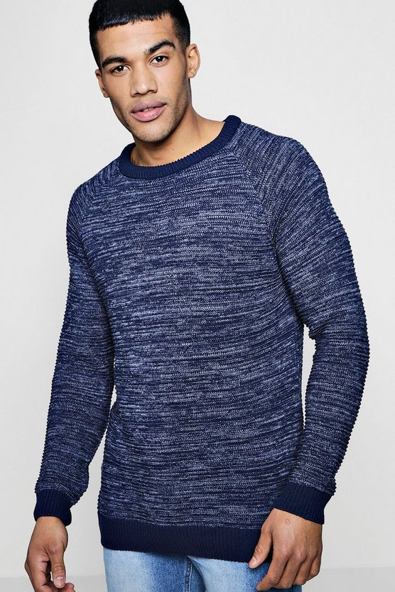 Raglan Ribbed Knitted Crew Neck Jumper