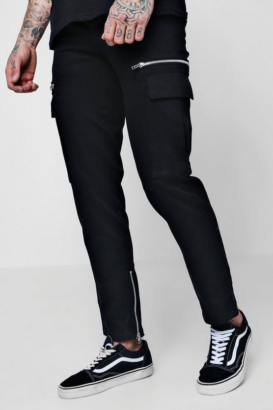 Slim Fit Cargo Trousers With Zips