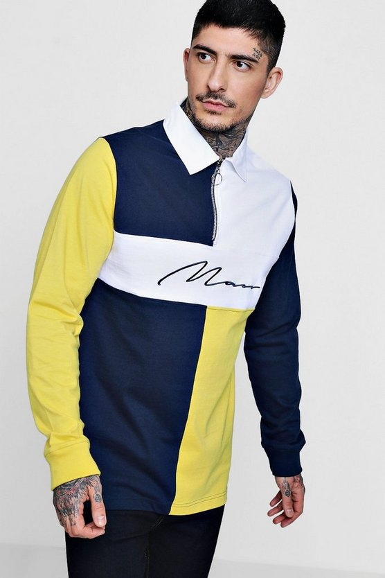 MAN Signature Colour Block Zip Rugby Top