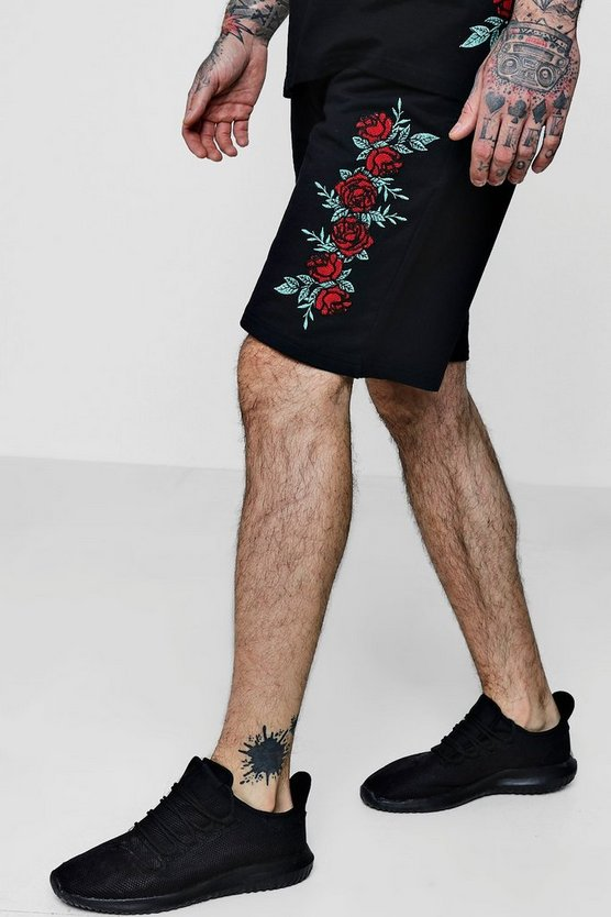 Floral Embroidered Jersey Mid Shorts Co-ord