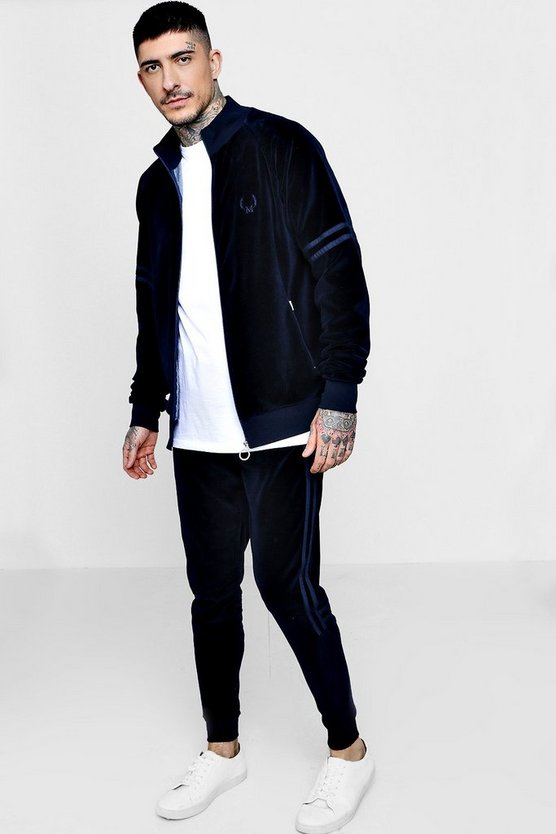 Skinny Fit Velour Embroidered Tracksuit