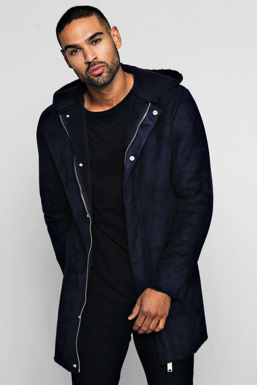 Купить Outerwear, Пальто из искусственной замши на подкладке с капюшоном, boohoo
