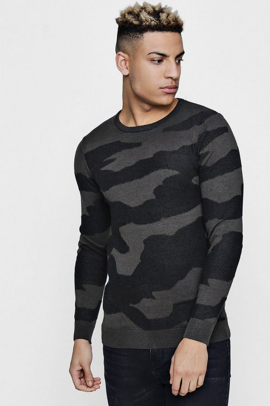 All Over Camo Jacquard Jumper In Muscle Fit