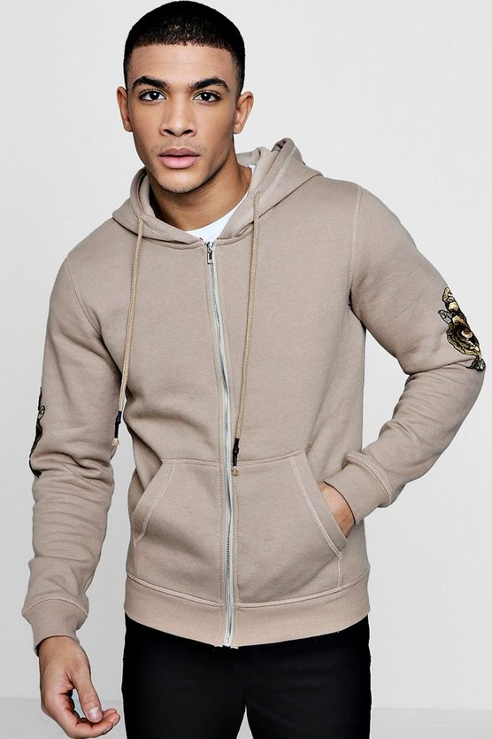 Gold Embroidered Zip Through Hoodie