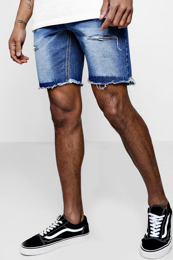 Slim Fit Denim Shorts With Jersey Waistband
