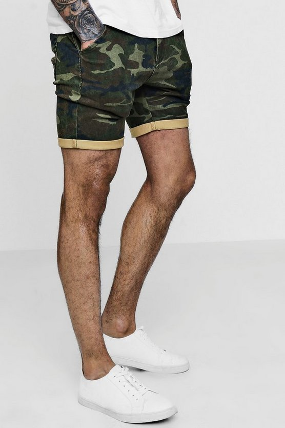 Skinny Fit Camo Print Denim Shorts