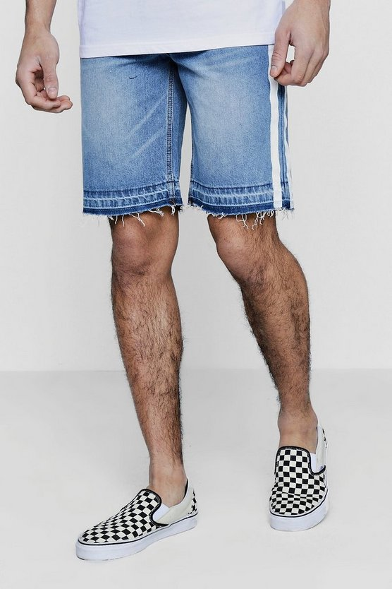 Bermuda Denim Shorts with Side Stripe Print