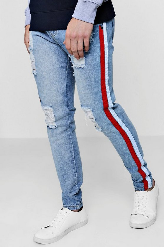 Skinny Fit Rigid Jeans With Side Taping