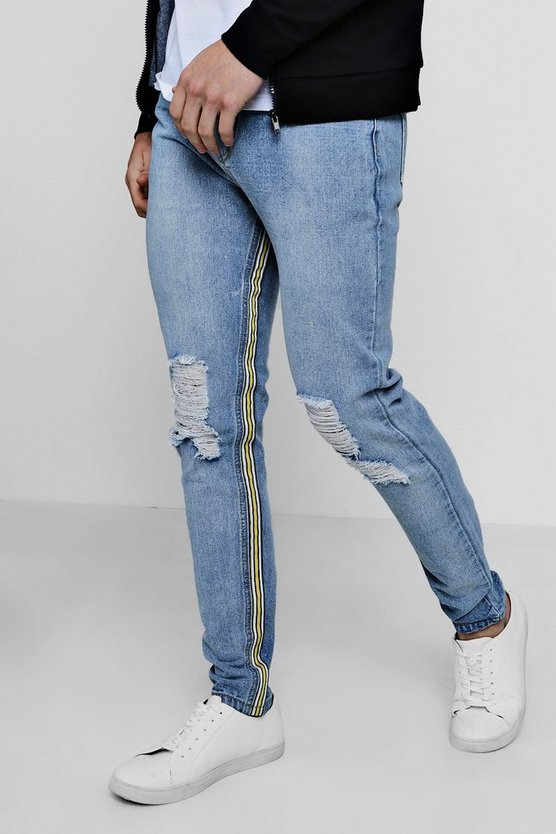 Skinny Fit Rigid Jeans With Inside Taping