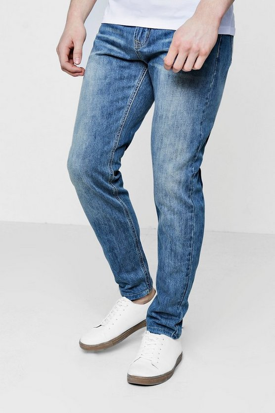 Slim Fit Washed Blue Denim Jeans
