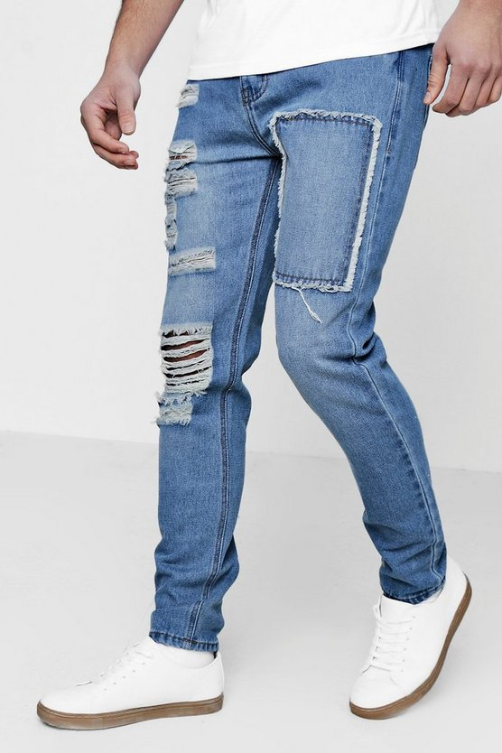 Skinny Fit Distressed Patchwork Jeans