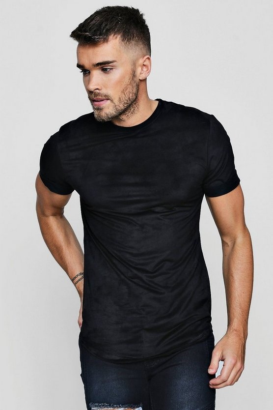 Muscle Fit Suedette T-Shirt With Curve Hem