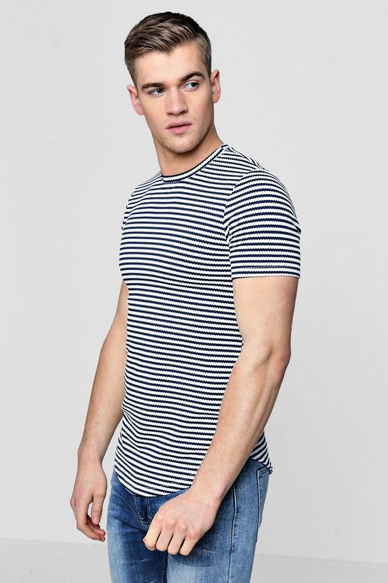 Slim Fit Stripe T-Shirt With Curve Hem