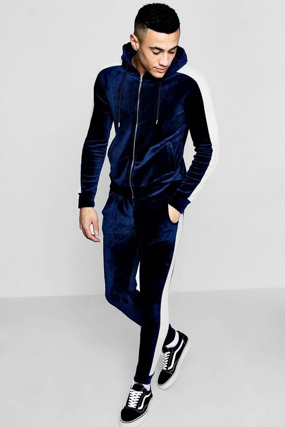 Muscle Fit Velour Panel Tracksuit