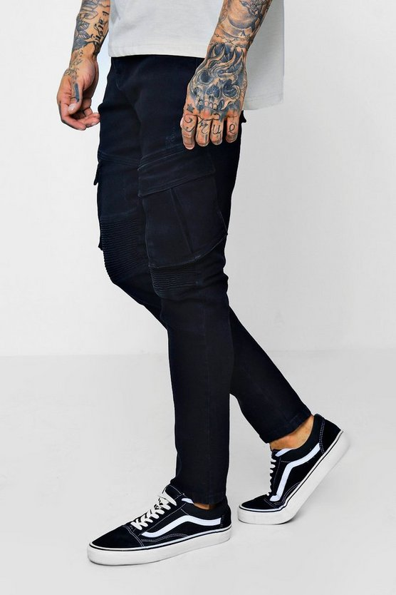 Skinny Fit Biker Jeans With Cargo Pockets