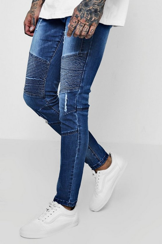 Skinny Fit Biker Jeans With Panelling