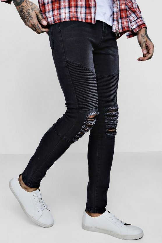 Super Skinny Biker Jeans With Ripped Knees