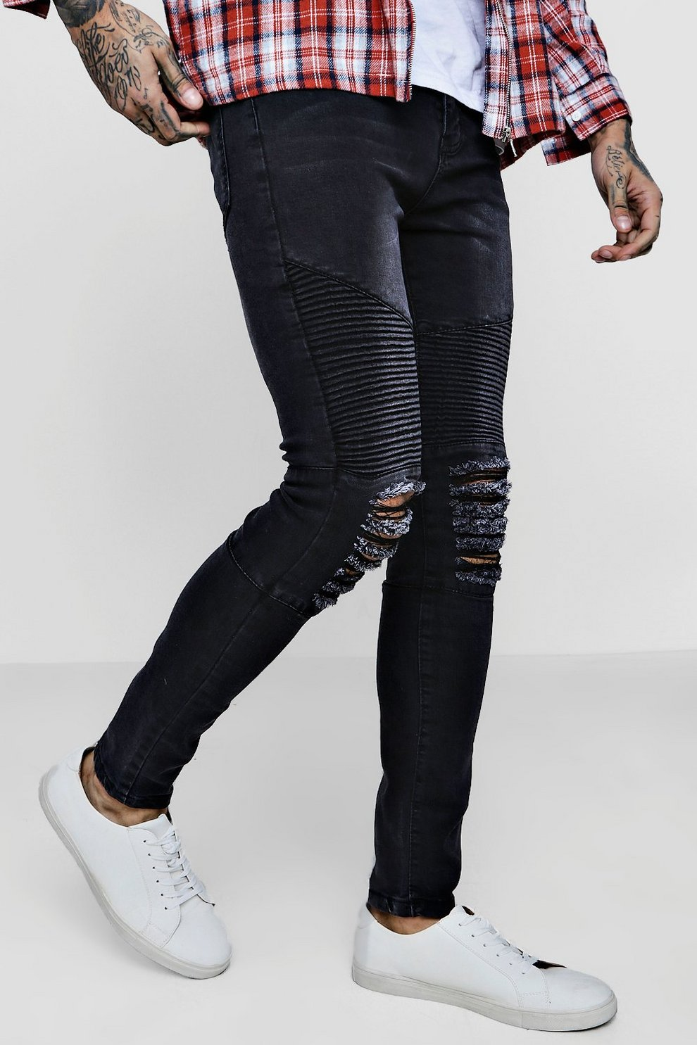 Cheap How Much Store Sale Boohoo Super Skinny Ripped Biker Jeans Free Shipping Visa Payment With Credit Card Sale Online Free Shipping Clearance Store YxBH9DtOH