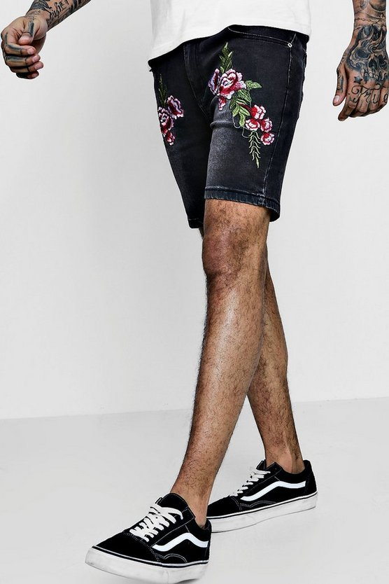 Skinny Fit Denim Shorts With Embroidery